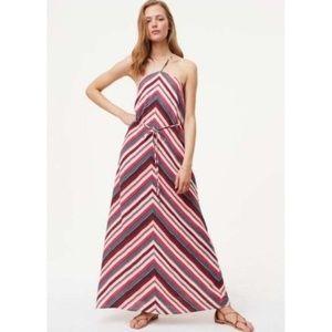 NWT Ann Taylor LOFT Chevron Maxi Dress XS Stripe